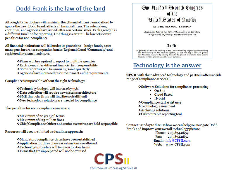 CPS II - Technology Solutions for Dodd-Frank Compliance
